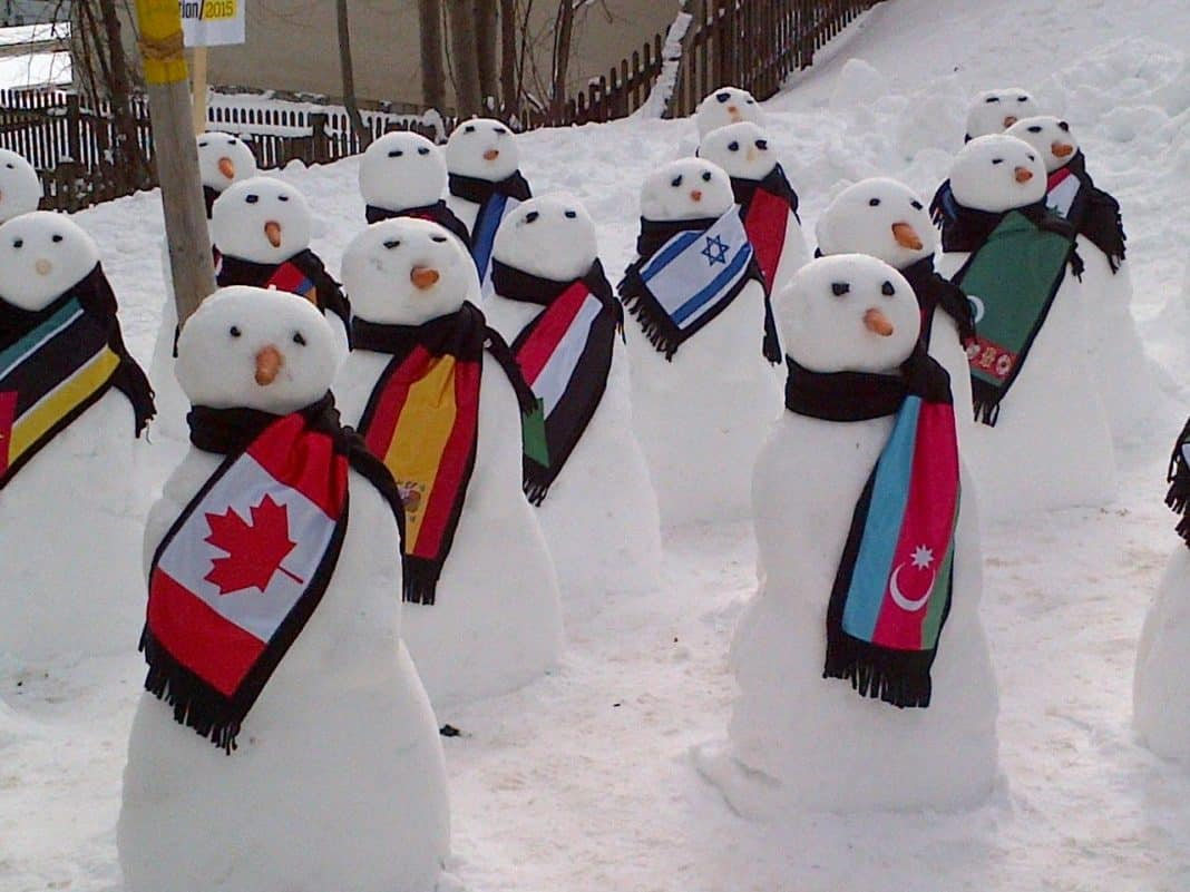 John Baird snow people in Davos