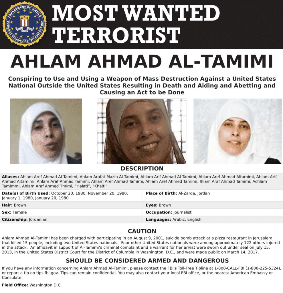 Resultado de imagen de cartel del fbi de ahlam tamimi imagenes