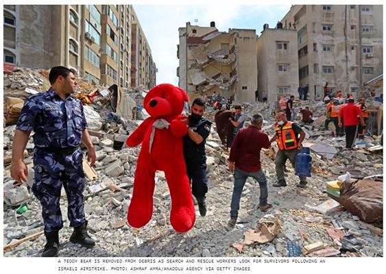 teddy bear rubble gaza
