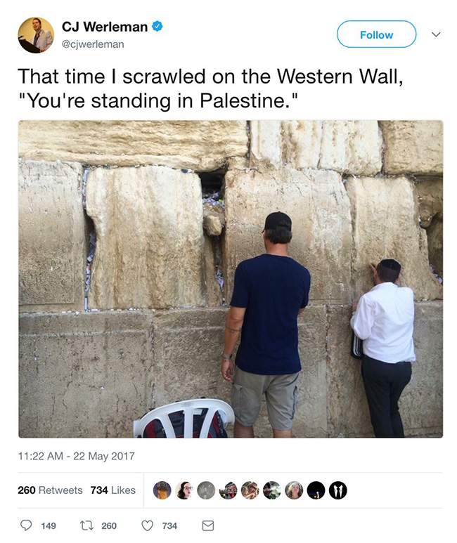 cj werleman western wall graffiti