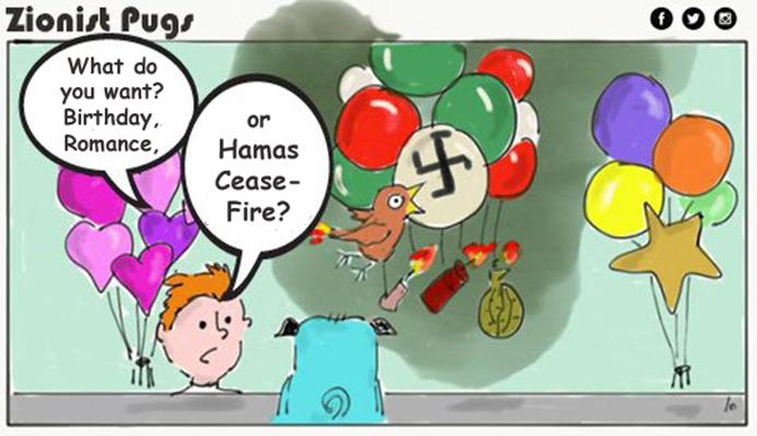 zionist pugs kites cartoon
