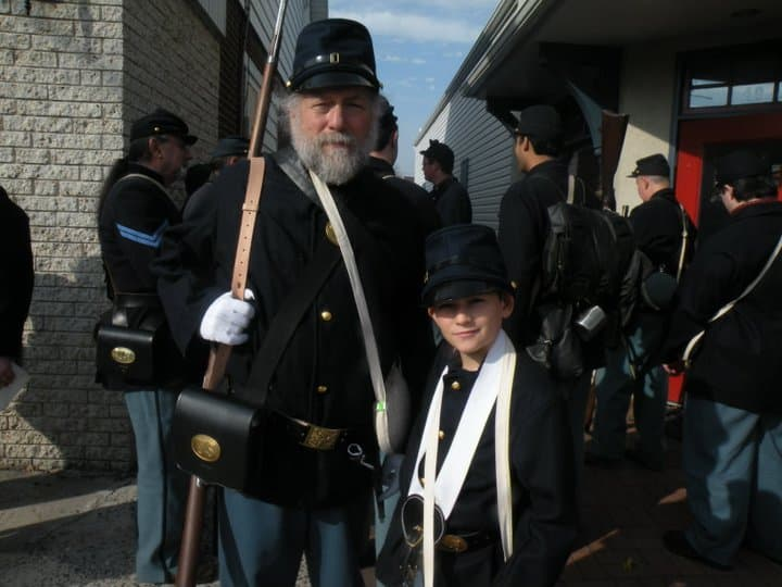 Barry Rubin and his son, reenacting the American Civil War