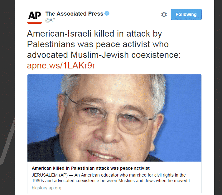 photo of US-Israeli peace activist killed by terrotist