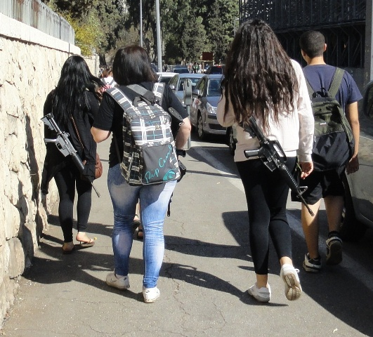 Photo of three girls accompanying class trip to Old City