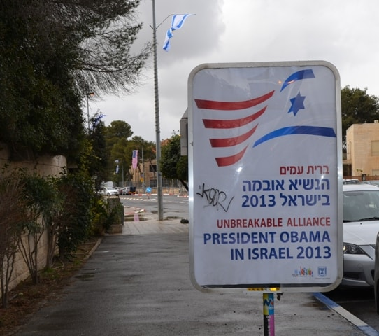 sign near president's house for Obama in Israel visit