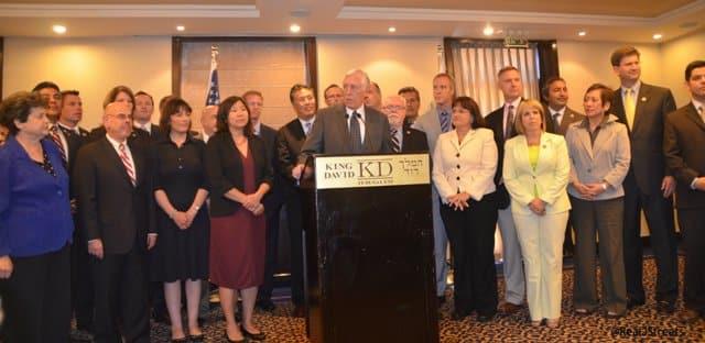 Steny Hoyer US Congressman at press conference Israel