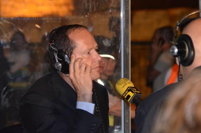 Jerusalem Mayor doing interview on radio photo