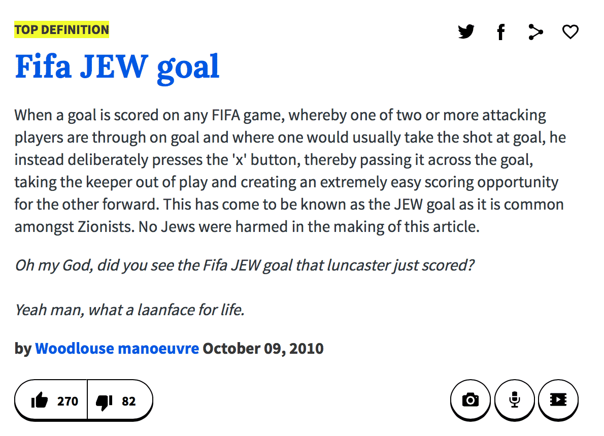 FIFA Jew goal Urban Dictionary just definition | Israellycool