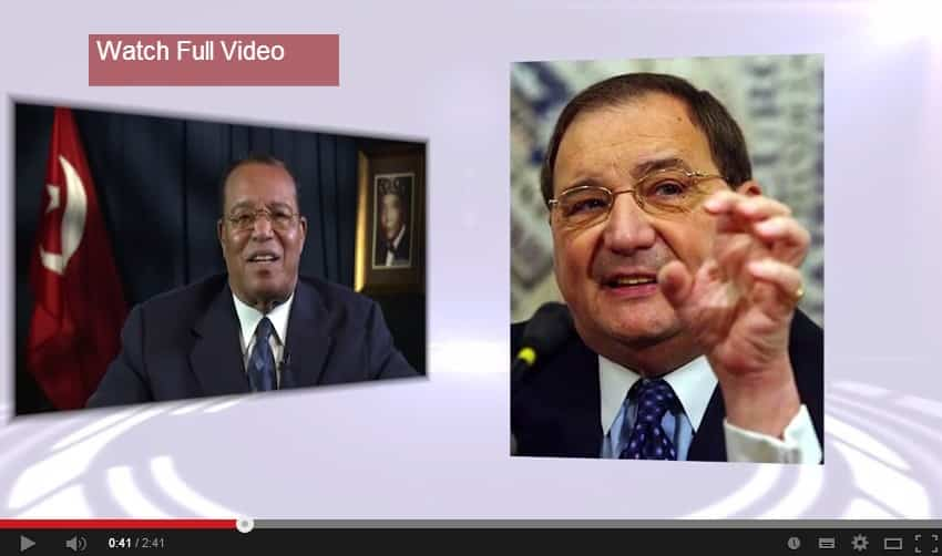 Note that Farrakhan gives Foxman a claw. (youtube screenshot)