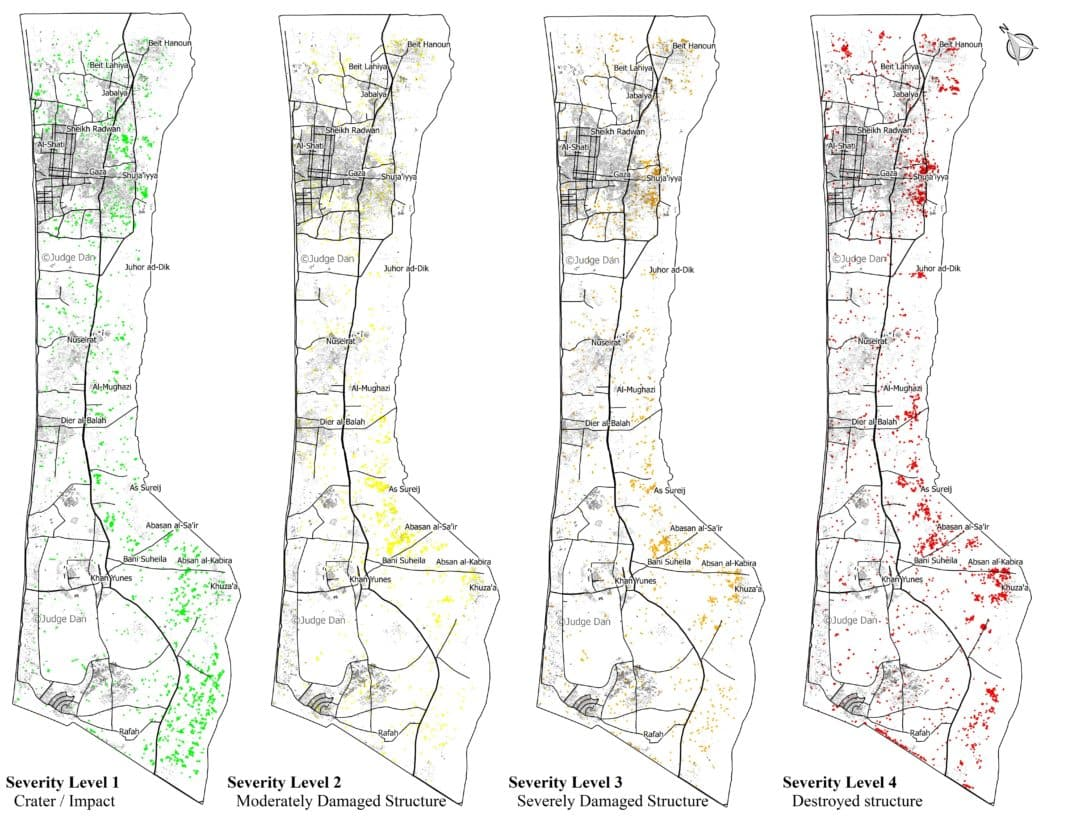 Gaza Damage points broken down by severity, click for full resolution