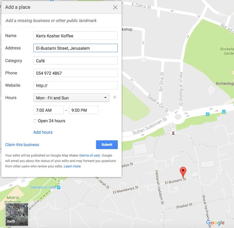 on google map israel