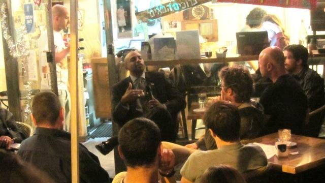 Jerusalem cafe, US Keith Nobel , preparation for Obama visit