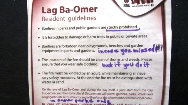 Image of safety rules for Jerusalem in English papers