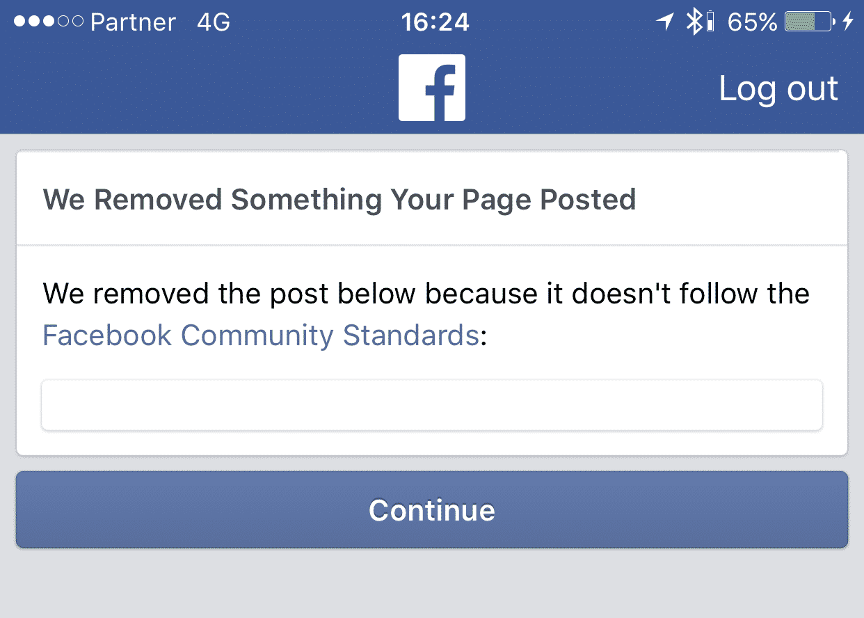 Facebook remove message