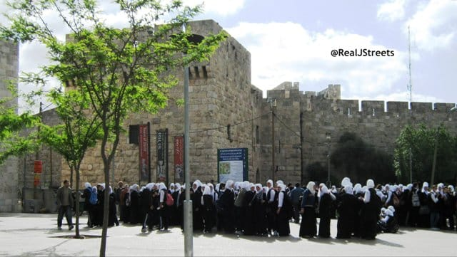 image Arab girls near Jaffa Gate, photo Arab gilrs in Jerusalem, picture Arab girls in Israel