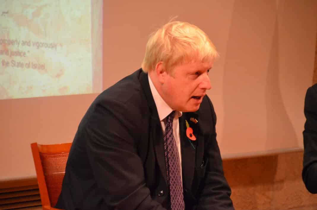 Boris Johnson speaking in Jerusalem
