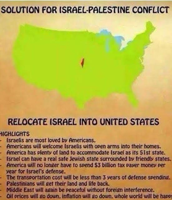 """Map tweeted out by Naz Shah showing Israel """"transported"""" to USA"""