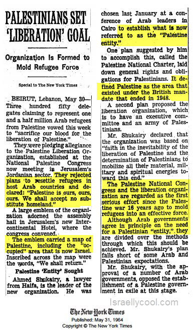 NY times archive PLO 1964