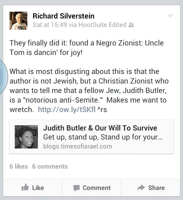 Richard Silverstein facebook coment negro uncle tom