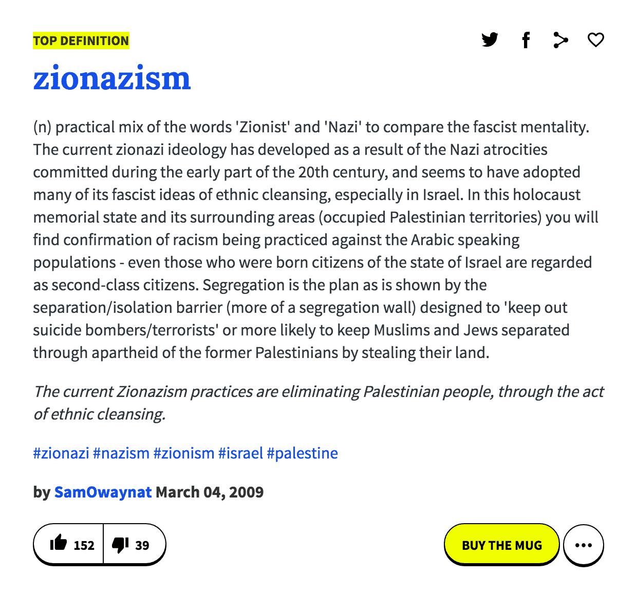 "Urban Dictionary Defines ""Zionazi,"" ""Zionazism"" | Israellycool"