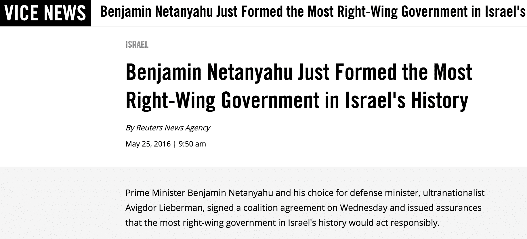 Vice Reuters right wing Netanyahu