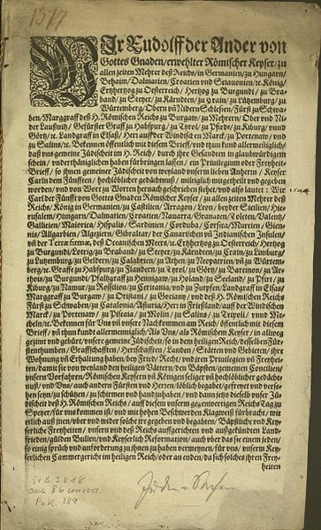 Great Jews Privilege Charter of Speyer 1544 (Großes Speyrer Judenprivileg), Insertion in the confirmation of 1548, page 1 of 7 (Wikimedia Commons)