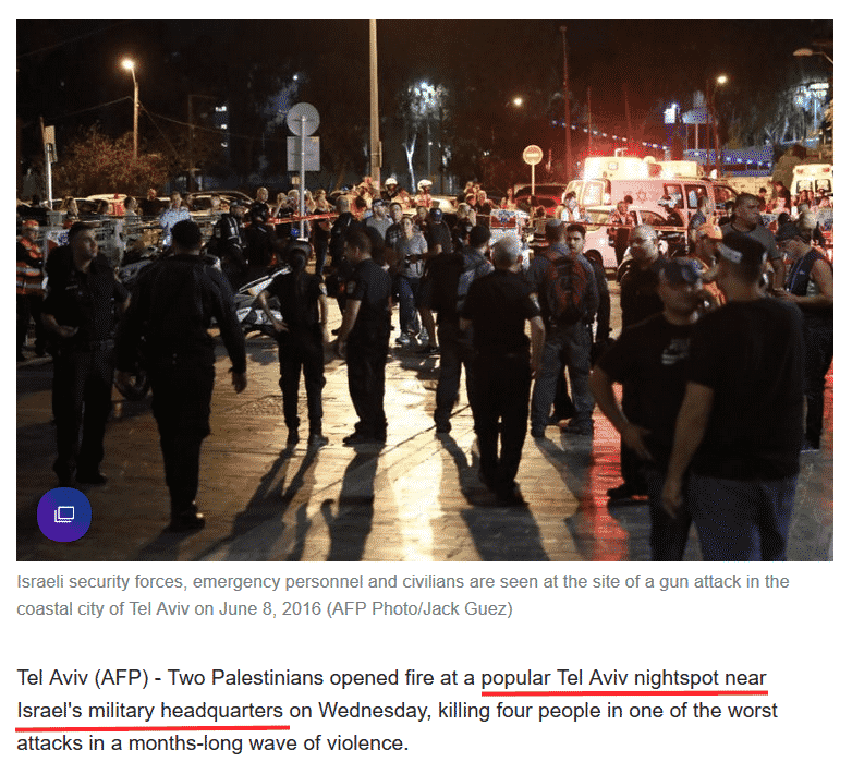 "Screenshot of Yahoo article, entitled: ""Four Killed in Shooting at Tel Aviv Night Spot"" - June 9, 2016."