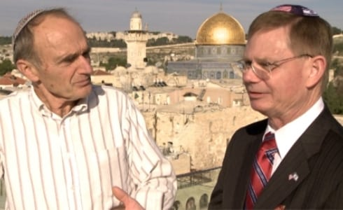 The author (right) with Dr. Gerald Schroeder  overlooking the Kotel and old city