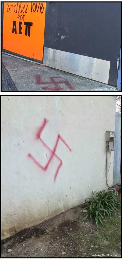 Swastikas found on walls of Jewish fraternity at UC Davis the day after a BDS resolution passed in the student senate.