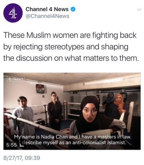 Britain's Channel 4 Chooses Islamic Racist & Antisemite As Female Muslim Role Model Channel-4-tweet