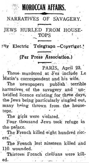 Newspaper report on the 1912 Fez Pogrom.