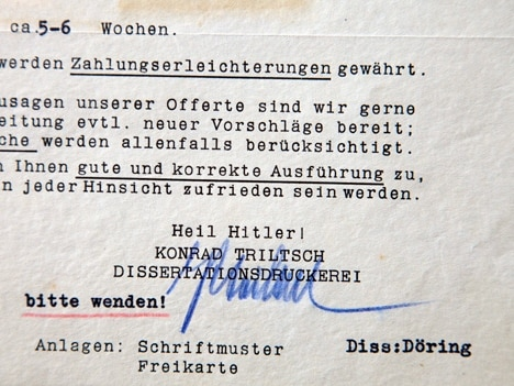 A price quote Dr. Lande received for sending the doctorate from Nazi Germany to Tel Aviv, signed with a blessing of 'Heil Hitler.' Ha'aretz via Alon Ron