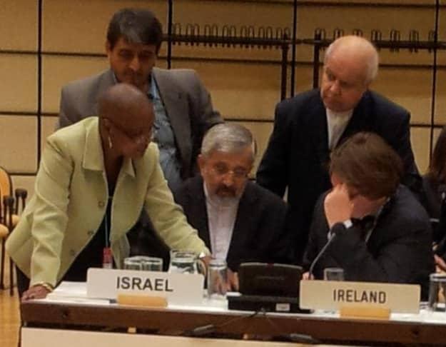 iranian delegate israel sign