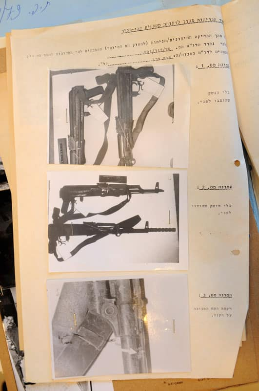 Evidence from the pathologist's report showing Einat Haran's brain tissue on the butt of Kuntar's rifle(Photo courtesy Doron Golan)