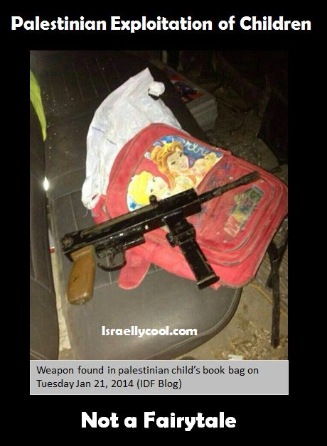 poster of weapon found in palestinian child bag.