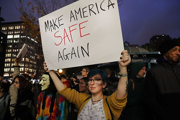 NEW YORK, NY - NOVEMBER 09: Anti-Trump protesters gather in a park as New Yorkers react to the election of Donald Trump as president of the United States on November 9, 2016 in New York City. Trump defeated Democrat Hillary Clinton in an upset to become the 45th president. (Photo by Spencer Platt/Getty Images)