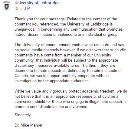 uni response